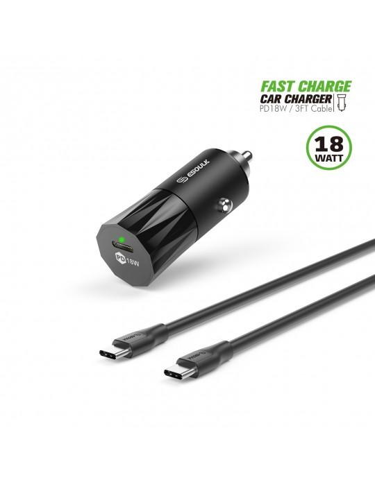 EC36P-CC-BK:18W PD Fast Charger Car & 3FT C to C Cable Black
