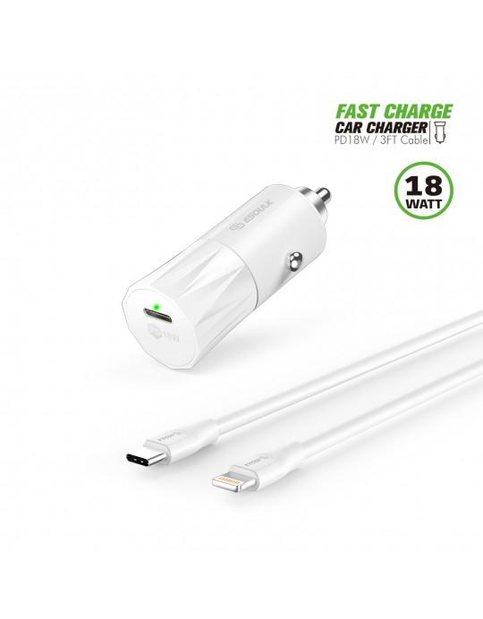 EC36P-CL-WH:18W PD Fast Charger Car & 3FT C to 8Pin Cable White