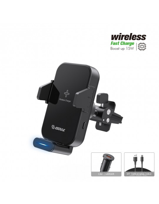EH38BK:Sensor 15W Wireless Charger Air Vent Car Holder
