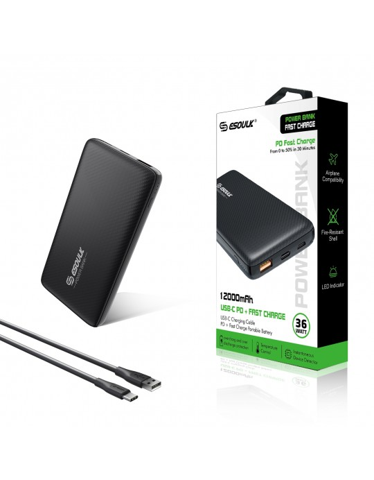 EP03P-BK: 36W 12000mAh PD & Fast Charger Power Bank  Black