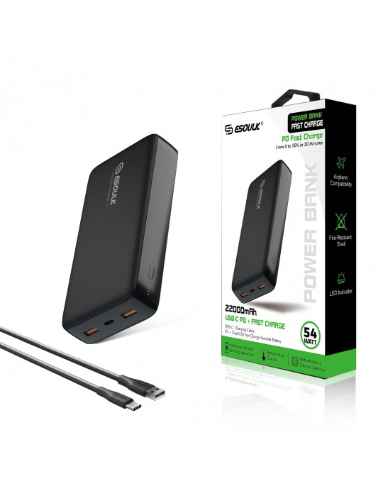 EP04P-BK: 54W 22000mAh PD & Dual Fast charge USB Power Bank Black