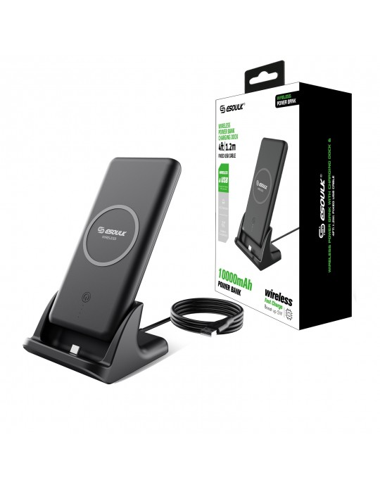 EP05PBK:10000mAh Vertical Wireless Charger Power Bank with Charging Dock And 4ft Cable