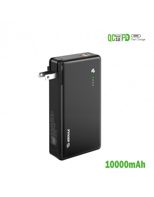 EP28-BK:10000mAh PD 18W POWER BANK WITH BUILT IN WALL CHARGER
