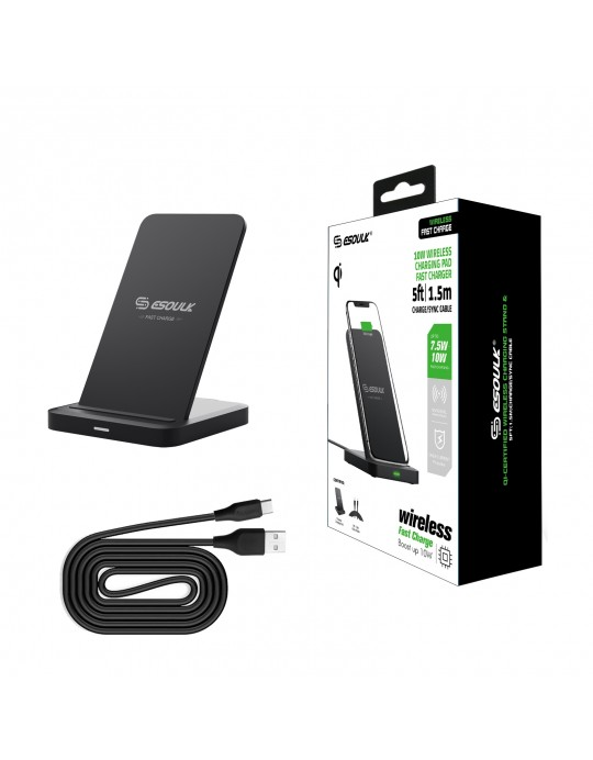 EW03PBK: QI 10W Vertical Double coil Wireless Fast Charger