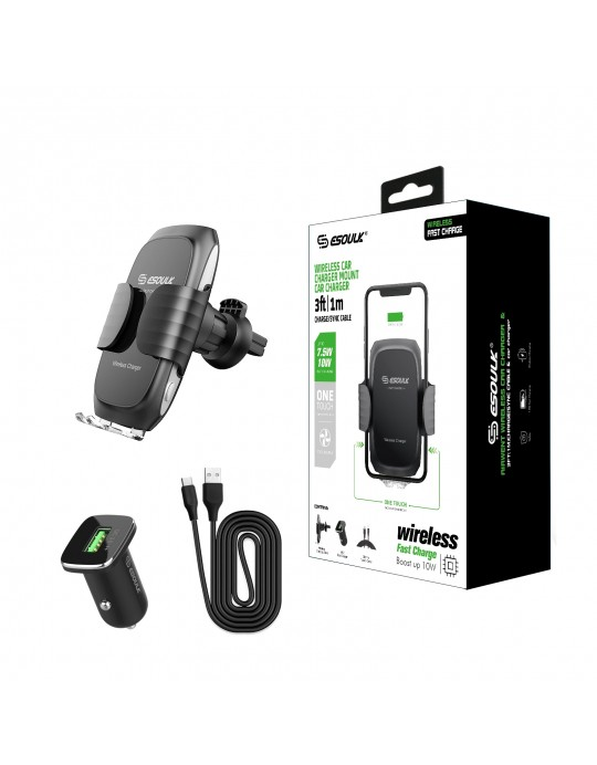 EW04PBK:10W Wireless Fast Charging Air Vent Car Mount Black