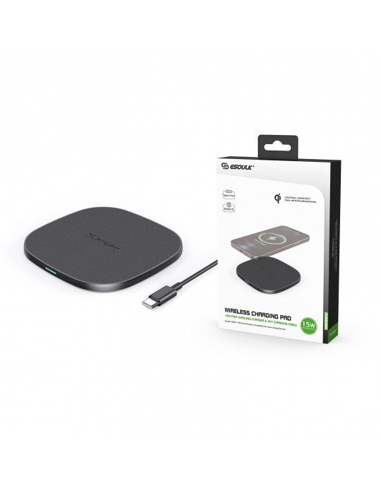 EW06-BK:15W QI WIRELESS CHARGER & 5FT TYPE-C CHARGING CABLE